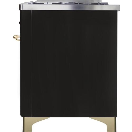 Majestic II 48 Inch Dual Fuel Natural Gas Freestanding Range in Glossy Black with Brass Trim