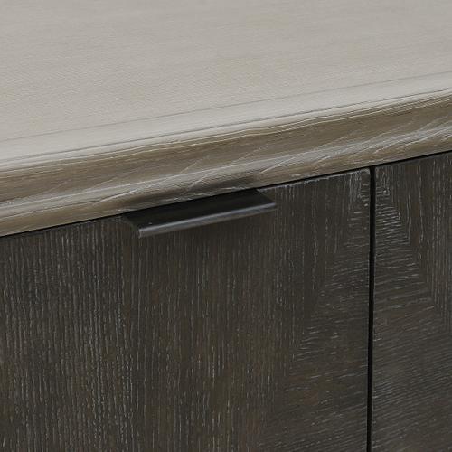 Two Door Duotone Parquet Wood Chest in Oak Brown