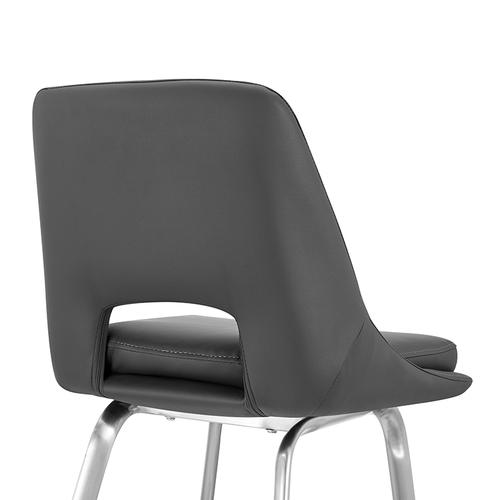 """Armen Living - Carise Grey Faux Leather and Brushed Stainless Steel Swivel 26"""" Counter Stool"""