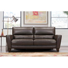 "See Details - Bergen 87"" Espresso Genuine Leather Square Arm Sofa"
