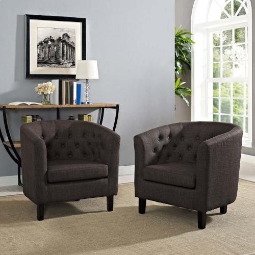 Prospect 2 Piece Upholstered Fabric Armchair Set in Brown
