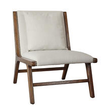 Wood Frame Lounge Accent Chair, Linen