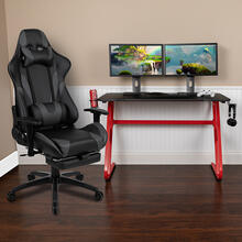 Red Gaming Desk with Cup Holder\/Headphone Hook & Gray Reclining Gaming Chair with Footrest