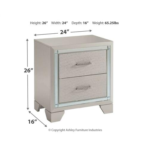 Lonnix Two Drawer Night Stand Silver Finish