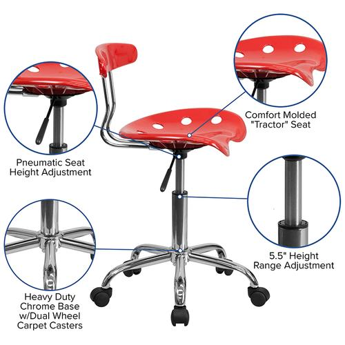 Flash Furniture - Vibrant Cherry Tomato and Chrome Swivel Task Office Chair with Tractor Seat