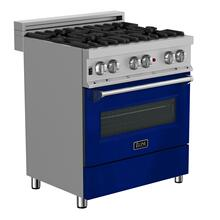 """See Details - ZLINE 30"""" 4.0 cu. ft. Dual Fuel Range with Gas Stove and Electric Oven in DuraSnow® Stainless Steel (RAS-SN-30) [Color: Blue Gloss]"""
