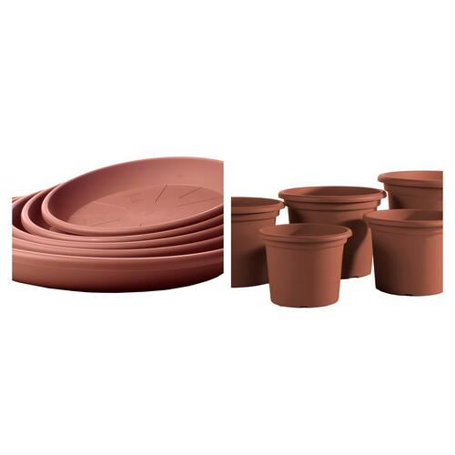 Geo Planter & Medea Saucer 200pc Assortment, Terra Cotta, (No stand)