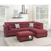 Claudia 3pc Sectional Sofa Set, Paprika-velvet