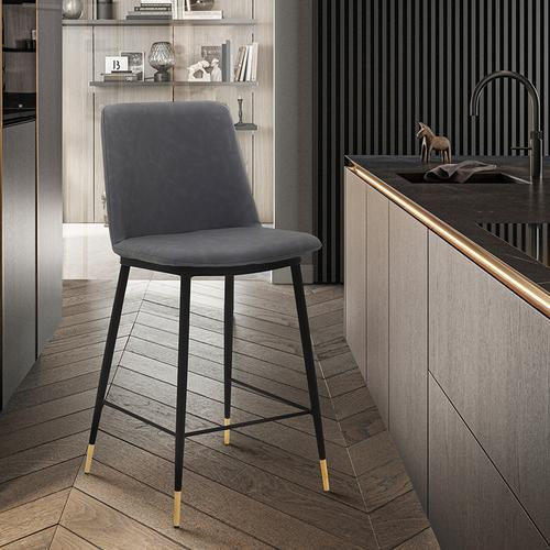 """Armen Living - Messina 26"""" Modern Counter Height Bar Stool with Black Metal Finish and Gray Faux Leather"""