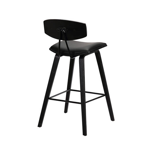 """Fox 25.5"""" Mid-Century Counter Height Barstool in Black Faux Leather with Black Brushed Wood"""