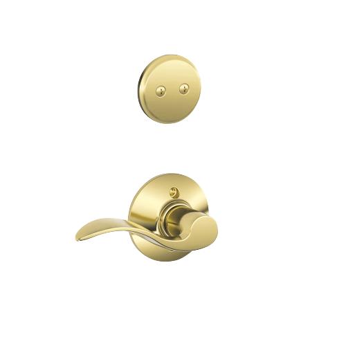 Schlage - Century In-active Handleset and Accent Lever - Bright Brass