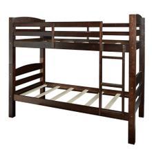 Built-in Ladder Twin Bunk Bed, Espresso
