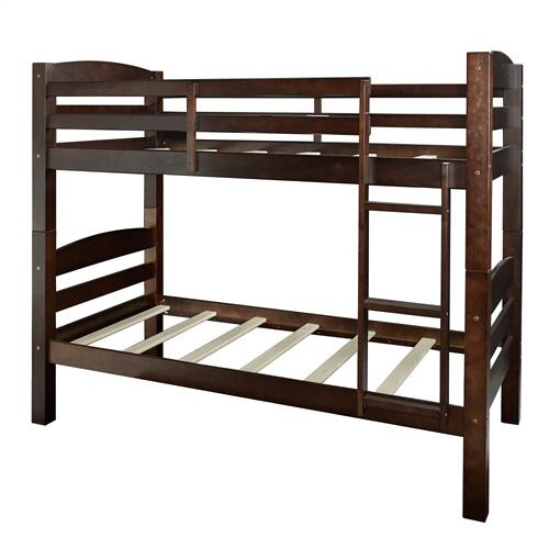 Built-in Ladder Twin Bunk Bed, Espresso