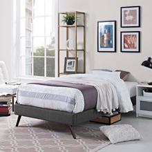 View Product - Loryn Twin Fabric Bed Frame with Round Splayed Legs in Gray