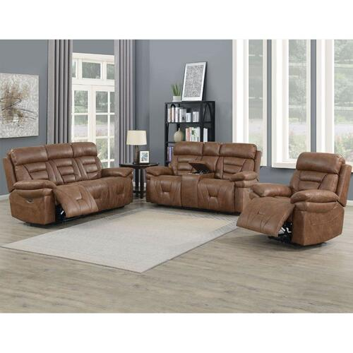 Brock Dual-Power Reclining Console Loveseat, Cinnamon