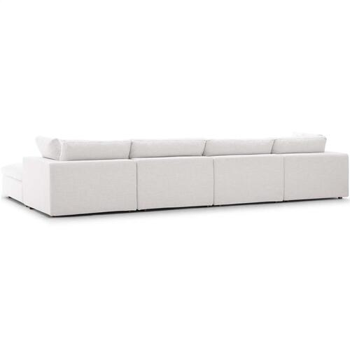 Commix Down Filled Overstuffed 5 Piece Sectional Sofa Set in Beige