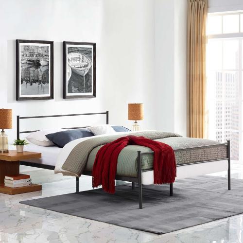 Alina Full Platform Bed Frame in Brown