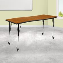 "Mobile 26""W x 60""L Rectangular Wave Collaborative Oak Thermal Laminate Activity Table - Standard Height Adjustable Legs"
