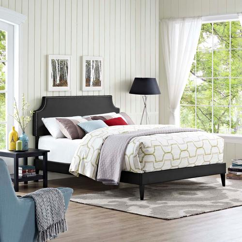 Modway - Corene Queen Vinyl Platform Bed with Squared Tapered Legs in Black