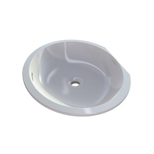 Kaali 60 Oval 23-3/8 Inch Undermount Lavatory Sink in Volcanic Limestone™ with Internal Overflow - Gloss White