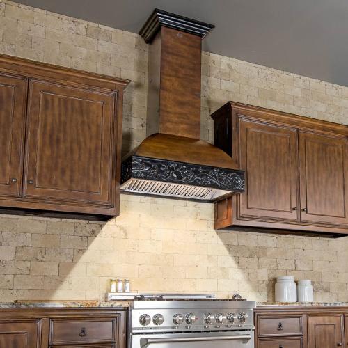 "ZLINE 36"" Designer Series Wooden Wall Range Hood with Crown Molding (393AH-36)"
