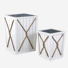 Montauk Planter Box with Rope Detail, White