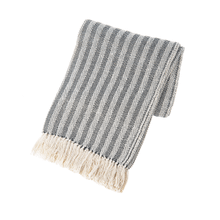 Black & Natural Vertical Stripe Woven Throw