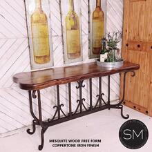 """Spanish Style solid Mesquite Wood Large Console, Sofa tables - 59"""" x 19"""" Beveled / Dark Rus Brown"""