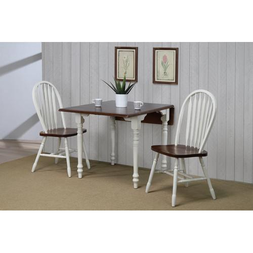 Drop Leaf Dining Set w/Arrowback Chairs - Antique White with Chestnut Top (3 Piece)