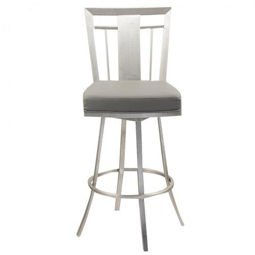 "Cleo 26"" Modern Swivel Barstool In Gray and Stainless Steel"