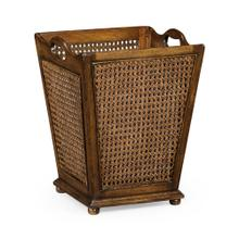 French Style Caned Walnut Waste Basket