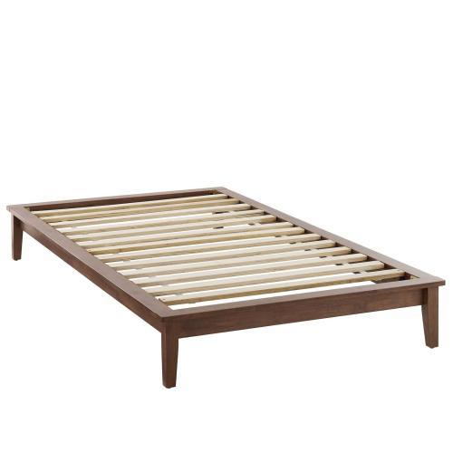 Lodge Twin Wood Platform Bed Frame in Walnut