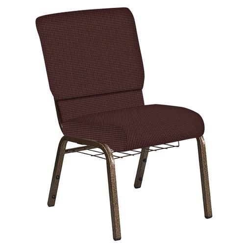 Flash Furniture - 18.5''W Church Chair in Mainframe Cordovan Fabric with Book Rack - Gold Vein Frame