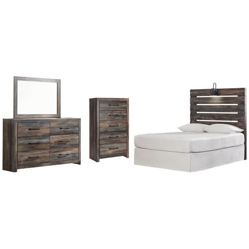 Product Image - Full Panel Headboard With Mirrored Dresser and Chest