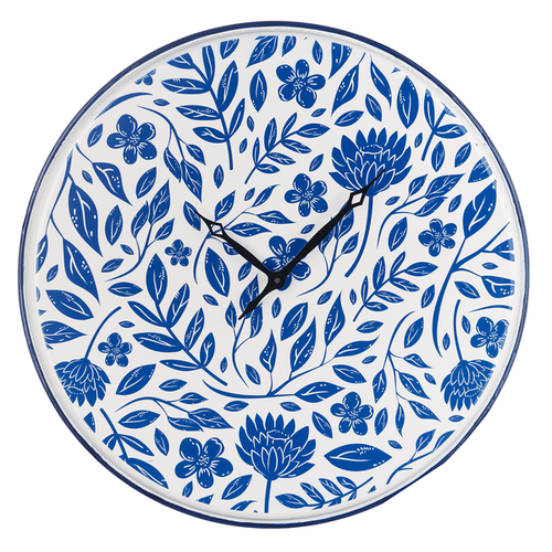 Blue & White Enamel Floral Wall Clock