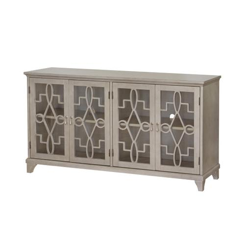 Four Door Accent Console in Antique Silver