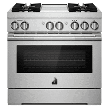 "36"" RISE™ Dual-Fuel Professional-Style Range with Chrome-Infused Griddle"