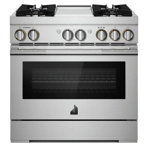"""36"""" RISE™ Dual-Fuel Professional-Style Range with Chrome-Infused Griddle"""
