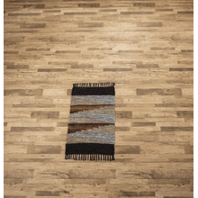 See Details - Geo Leather Chindi 2'x3 Rug. (Each One Will Vary)
