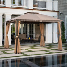 Aster Aluminum and Steel Gazebo with Mosquito Netting in Tan 9.8' D x 11.8' W x 9.7' H, ASTERGAZ-TAN