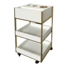 CHELSEY STORAGE CART  16in w. X 29in ht. X 13in d.  White and Gold Rolling Display or Storage Unit