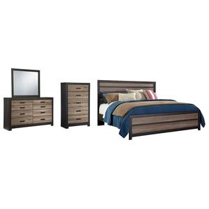 King Panel Bed With Mirrored Dresser and Chest
