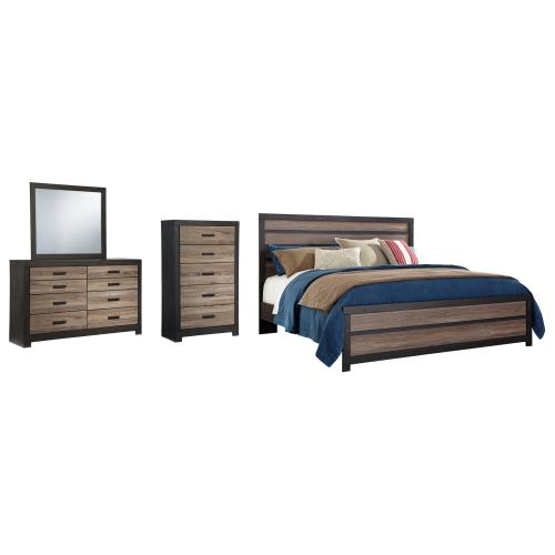 Product Image - King Panel Bed With Mirrored Dresser and Chest