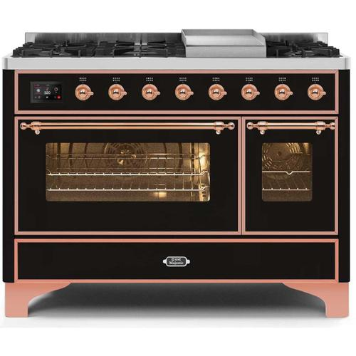 Majestic II 48 Inch Dual Fuel Natural Gas Freestanding Range in Glossy Black with Copper Trim