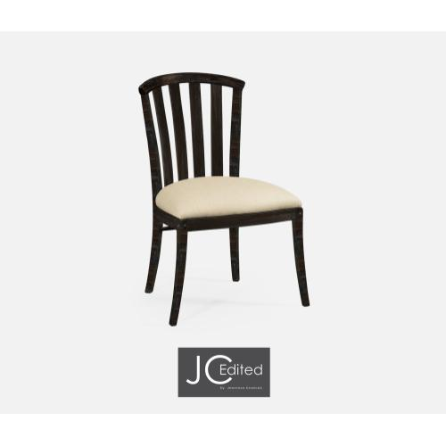 Dark Ale Style Curved Back Side Chair, Upholstered in MAZO
