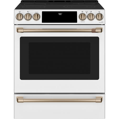 Café 30'' Slide-In Front Control Radiant and Convection Range Matte White
