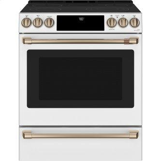 Café ™ 30'' Slide-In Front Control Radiant and Convection Range Matte White