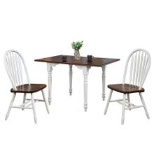 See Details - Drop Leaf Dining Set w/Arrowback Chairs - Antique White with Chestnut Top (3 Piece)