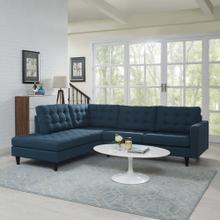Empress 2 Piece Upholstered Fabric Left Facing Bumper Sectional in Azure