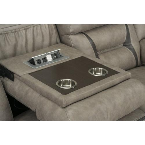 Acropolis Manual Motion Reclining Sofa with Power Strip, Beige